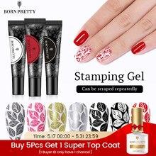 BORN PRETTY-esmalte de Gel para estampado de uñas, barniz de Gel UV para placa de estampado para manicura, negro y blanco
