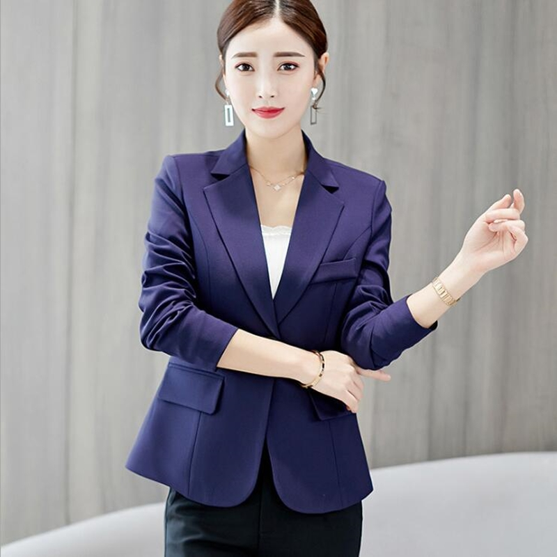 Slim Fit Blazer Women 2020 Summer Autumn Work Clothes For Office Lady Single Button Solid Color Womens Blazers Long Sleeve Suit