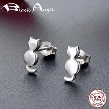 925 Sterling Silver Simple Cute Napping Little Cat Stud Earrings For Women Fine Jewelry