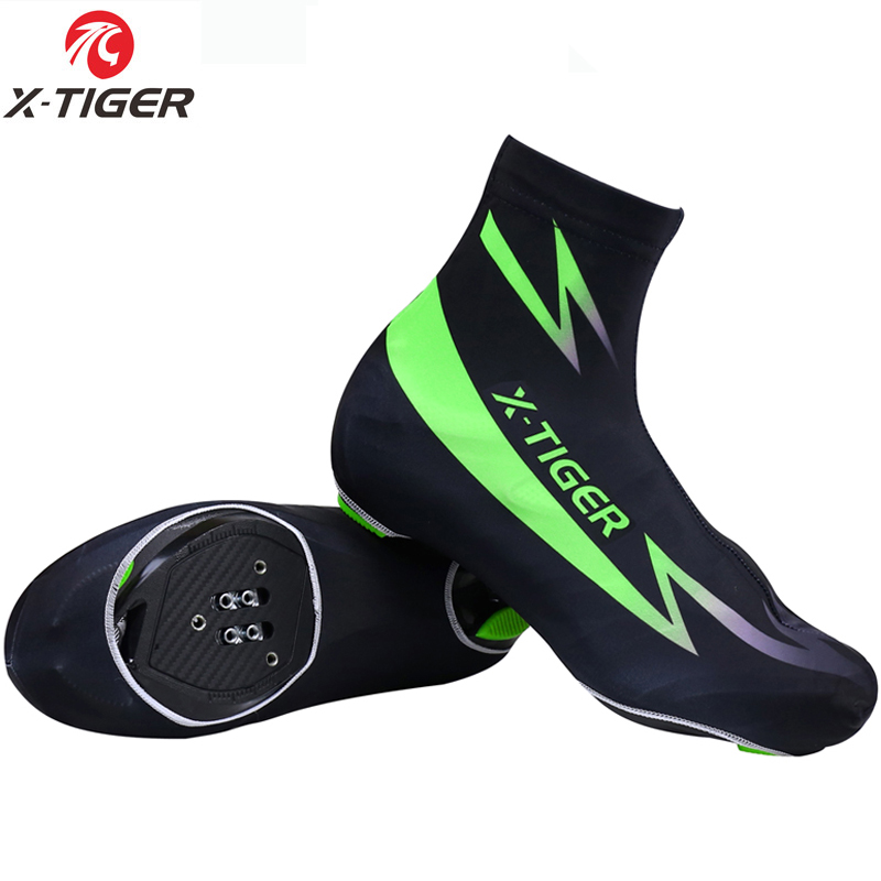 X-TIGER Farine Vert Cyclisme Couvre-chaussures Mans Femmes VTT Couvre-chaussures de Cyclisme Zippé Vélo Couvre-chaussures Sportswear