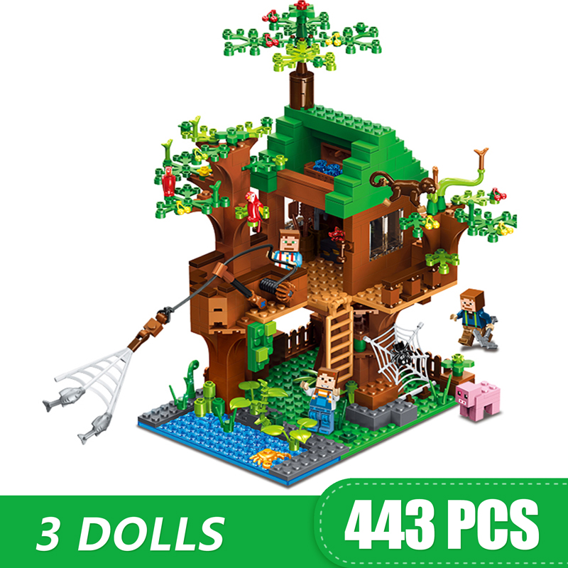 Building Blocks Compatible Lepining Minecrafte Tree House My Worlds Village Bricks Set Toys for boys girls children Model Gift(China)