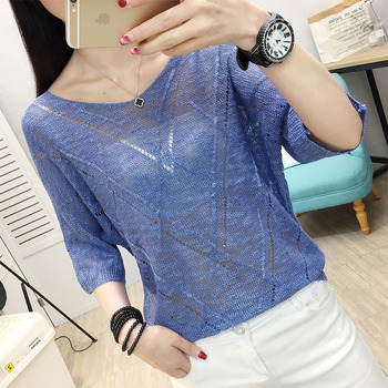 knitted sweater hollow jacket women's thin style new summer bat sleeve blouse Korean version of loose mesh tunnels