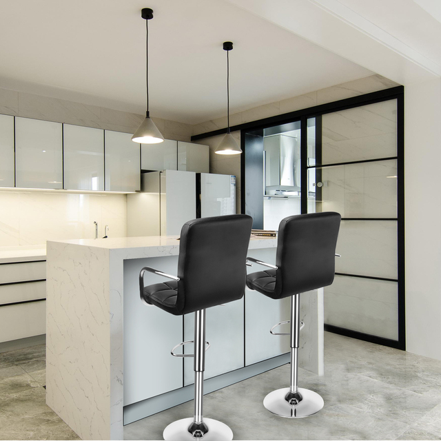 Set of 2 Modern Bar Chairs Dining Room Chairs Adjustable Swivel Bar Stools Kitchen Counter Dining Chairs for Home Office Salon 6