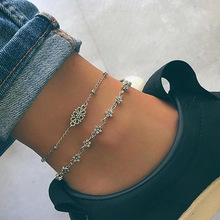Bohemian beach ladies anklet bracelet fashion personality multi-layer lucky 8 word charm summer foot decorations