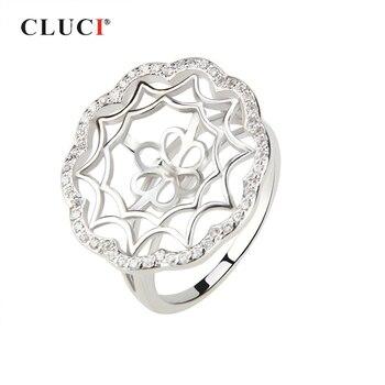 CLUCI, anillo de Plata de Ley 925 para mujer, anillo de perlas, joyería de montaje, flor grande redonda, plata 925, anillos de boda de circón, joyería SR1016SB