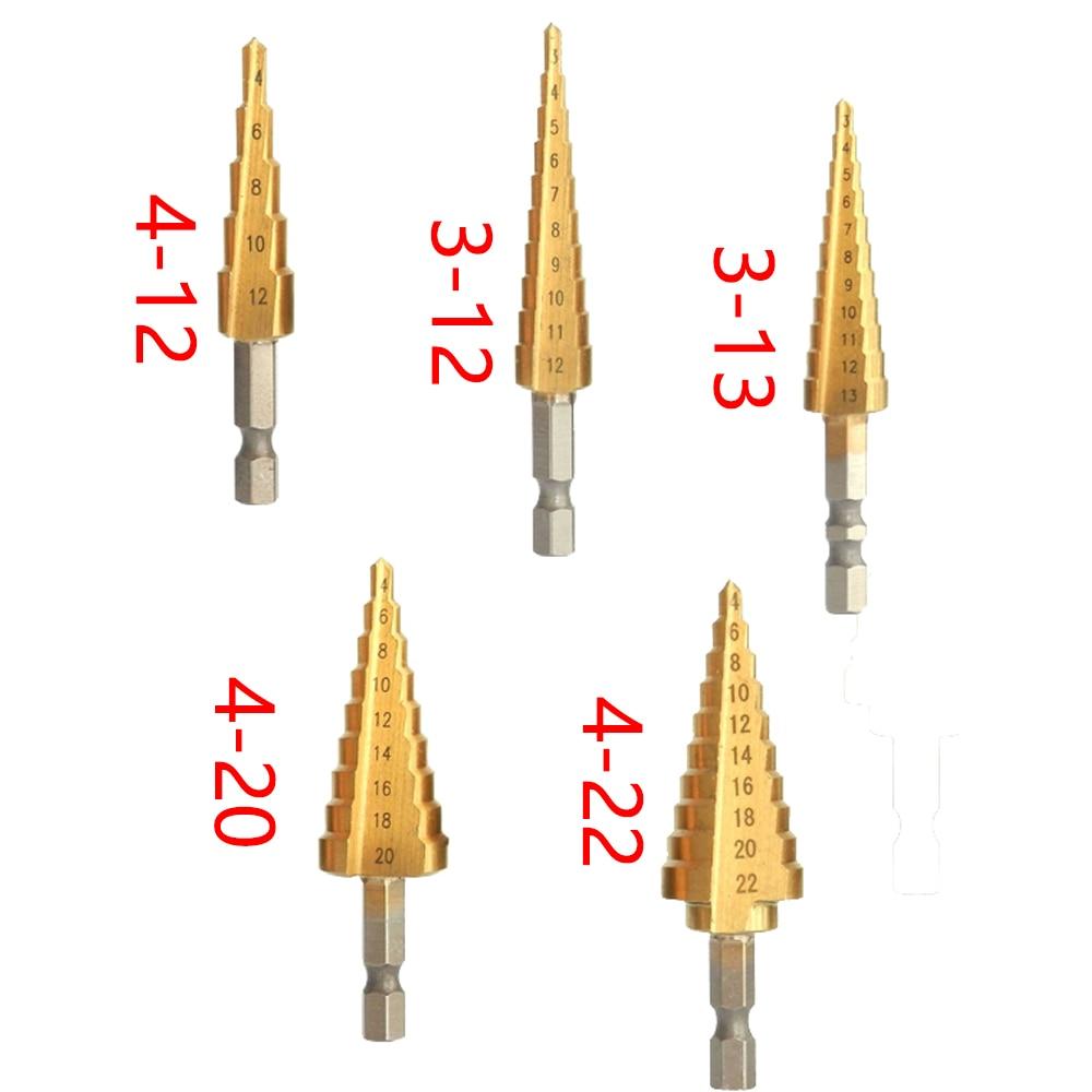 1PCS 3-13 4-12/20/22mm Titanium Coated Pagoda Shape Step Drill Bit Triangle Shank Hole Drill Cone Drill Bit Step Drill