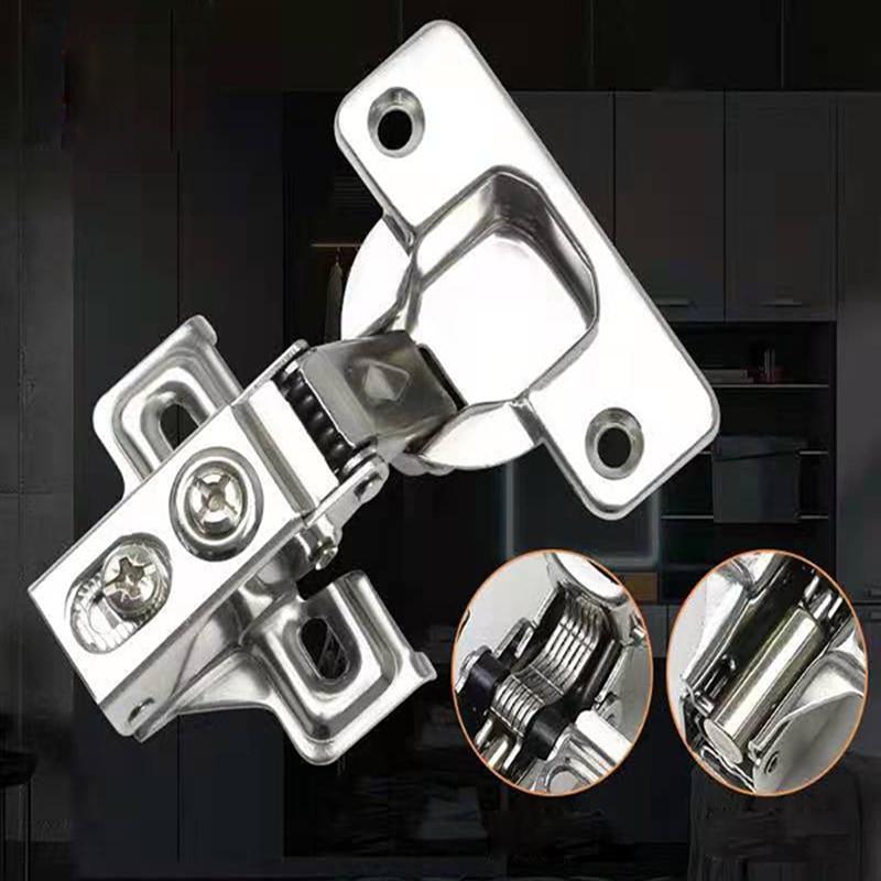 Hydraulische Scharnier Dämpfer Buffer Schrank 2 loch edelstahl möbel Scharniere Schrank Tür Scharniere Hardware tasse 35mm fix Design