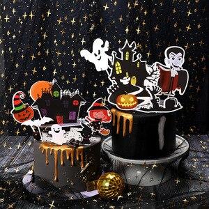 Image 2 - Halloween narzędzie do dekoracji ciast karta czarny zamek Batman flaga dyniowa wiedźma deser ciasto dekoracja na wierzch materiały urodzinowe