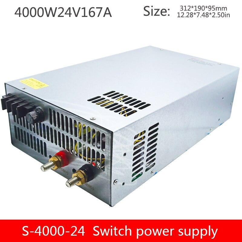 4000W haute puissance DC alimentation régulée 24V sortie unique groupe surveillance industrielle alimentation S-4000-24V