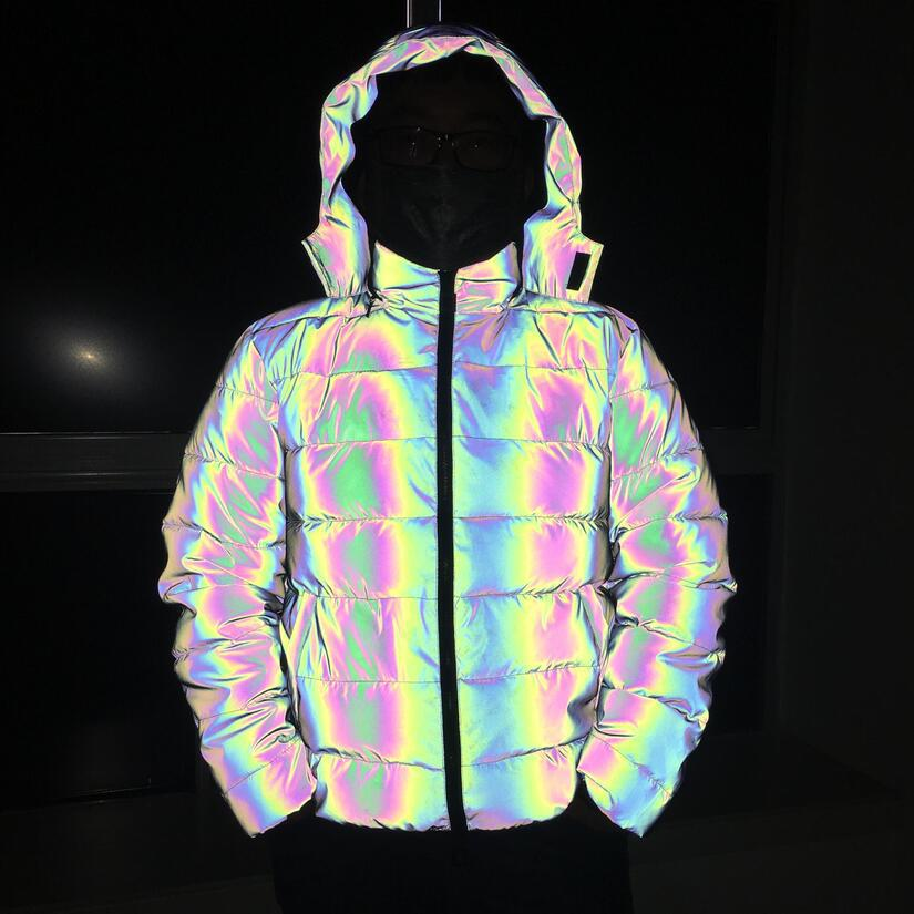 Young Men Winter Jacket For Women/Men Reflective Jacket Hip Hop Streetwear Dance Reflect Light Dazzling Hooded Parka Winter Coat