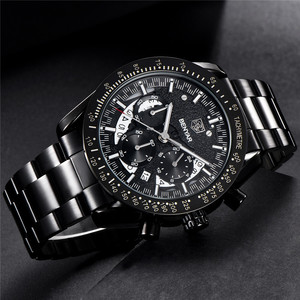 Image 2 - BENYAR Fashion Sport Watch Men Top Brand Luxury Black Male Chronograph Clock Military Stainless Steel Waterproof Wristwatch 5120