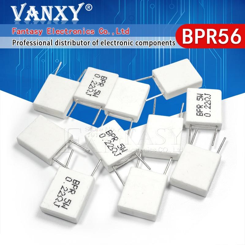Неиндуктивный керамический цементный резистор BPR56 5 Вт 0,001 0,1 0,15 0,22 0,25 0,33 Ом 0,5 R 0.15R 0.22R 0.25R 0.33R 0.5R, 10 шт.