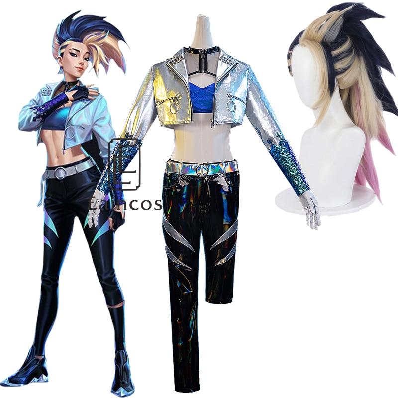 Juego de 2020 KDA Akali disfraz de Cosplay LOL todos Cosplay traje Akali pelucas traje de moda de Halloween chaqueta pantalones las mujeres uniforme