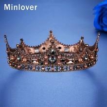 Minlover Vintage Crystal Full Round Baroque Bride Tiara Crown Wedding Hair Accessories for Women Men King Diadem Headpiece HG184