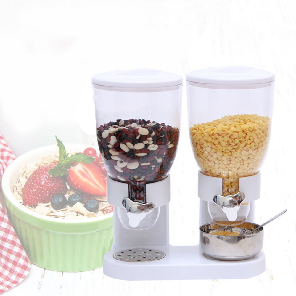 5L Double Cereal Dispenser Dry Food Storage Container Canister Machine 2 Colors in Bags Baskets from Home Garden