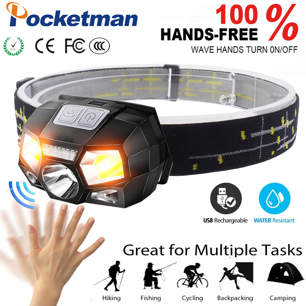 6000LM Sensor Headlamp Motion Inductive rechargeable with USB Cable 5Modes LED Headlight Torch Lanternate built-in battery