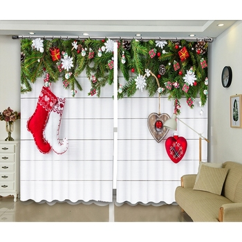 Celebration Festive Decoration 3D Printed Curtains Christmas Creative Photos  Blackout Curtains for Bedroom and Living Room