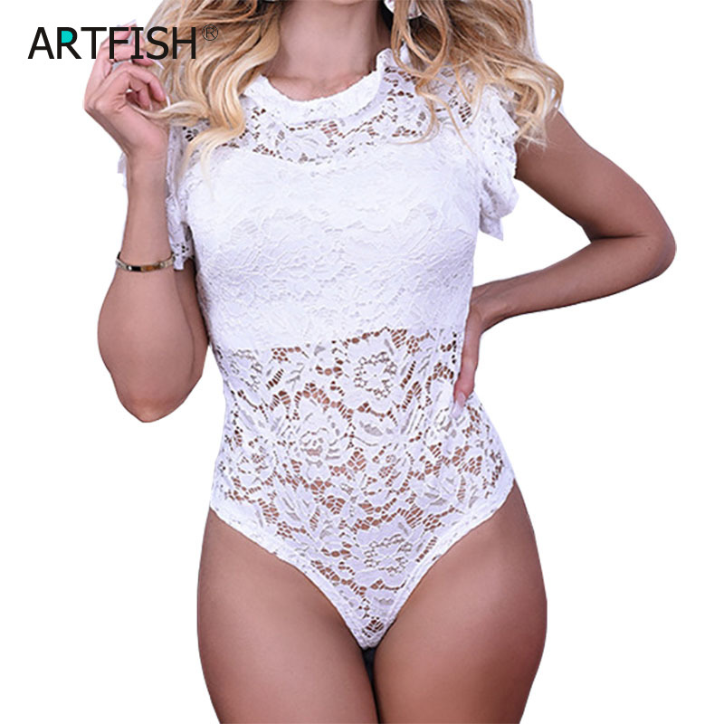 Women Sexy Rompers Whit Lace Bodysuits New Overall Hollow Out Body Ruffles Short Sleeve BodySuits Skinny Clubwear Feminino GV233