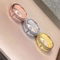 Hot brand jewelry full zircon innitial letter ring silver rose gold gold cz zircon wide T finger ring