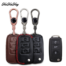 Leather Car Key Case Cover for Volkswagen VW Polupatapata Travel Jetta For Skoda Key Bag Holder Keychain Accessories