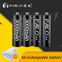PALO AA batería recargable 1,2 V AA 3000mAh Ni-MH batería recargable precargada baterias 2A para micrófono de cámara juguete