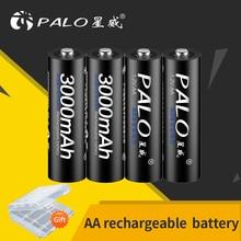 PALO AA rechargeable battery 1.2V AA 3000mAh Ni-MH Pre-charged Rechargeable Battery 2A Bateries for Camera Microphone toy цена