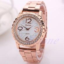 Женские и мужские наручные часы с кристаллами из нержавеющей