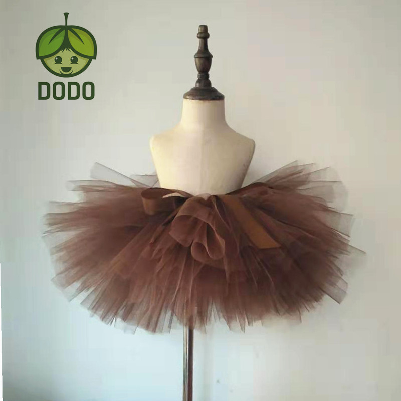 Cor marrom artesanal fofo meninas ballet dança traje tutu saia