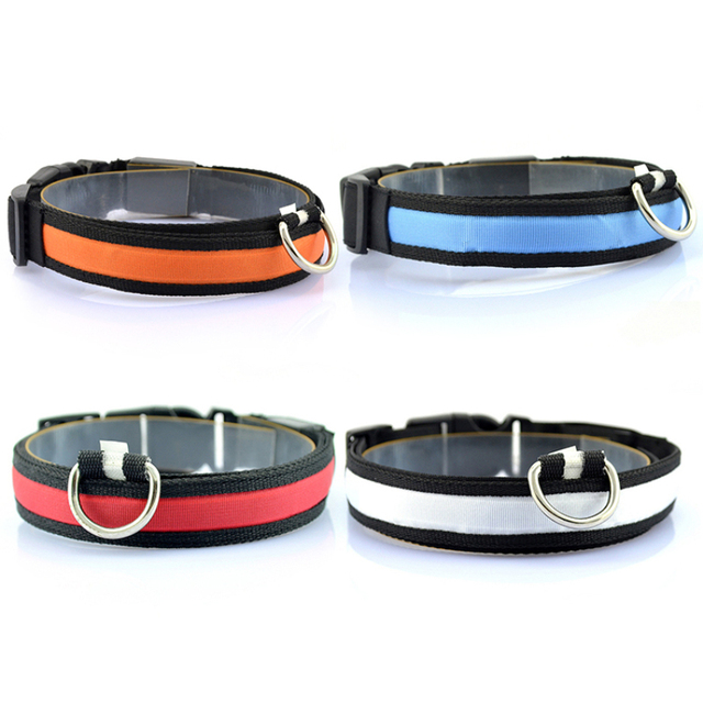 1PC Nylon LED Dog Collar Lamp With Dog Collar Night Safety Flashing Glow In The Dark Luminous Fluorescent Collars Pet Supplies 5