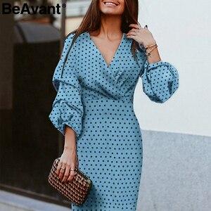 Image 1 - BeAvant Elegant polka dot dress women V neck lantern sleeve female party dresses Vintage high waist ladies midi dresses vestidos