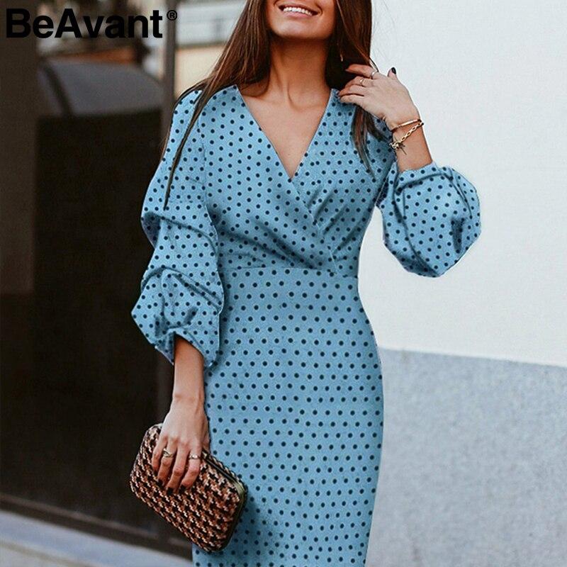 US $17.41 45% СКИДКА|BeAvant Сексуальное Женское Платье с v образным вырезом элегантный в горошек принт фонарь рукав женское вечернее платье осень тонкое дамское винтажное платье средней длины|Платья| |  - AliExpress