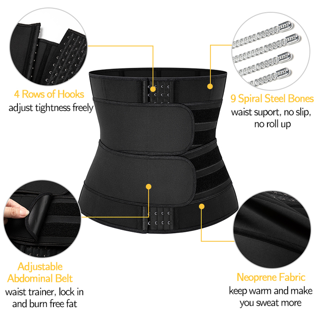Neoprene Sauna Sweat Waist Trainer Corset with Steel Bones Women Weight Loss Trimmer Belt Slimming Body Shaper Fat Burning Fajas 3