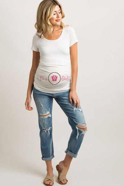 É uma menina de manga curta maternidade whitetops gravidez t-shirts roupas casuais para mulheres grávidas t moda camisas wear