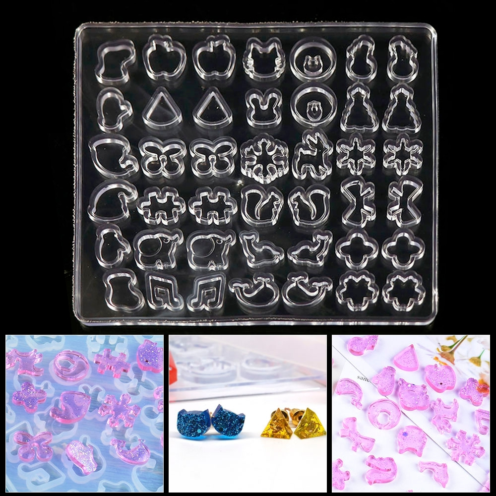 Small Mix Shape Earring Stud Set  UV Resin Epoxy Silicone Molds Making Cabochon Decorative Craft Jewelry Making Mold