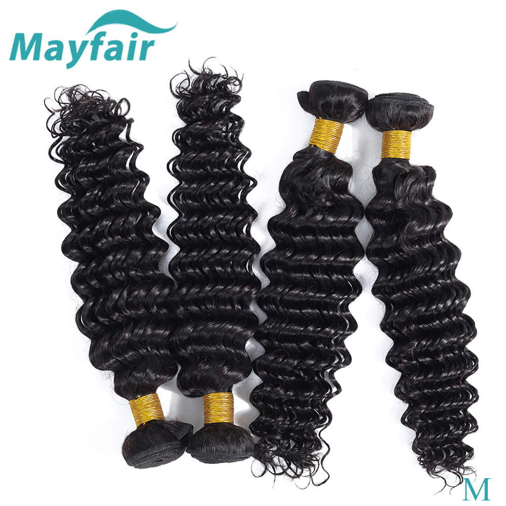 Deep Wave Bundles Brazilian Hair Weave Bundles 100% Non-Remy Hair Extensions M Mayfair 3PCS Human Hair Bundles