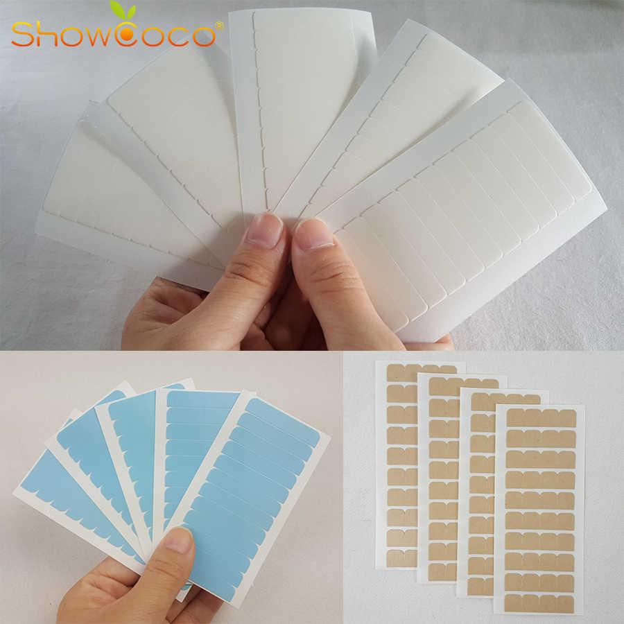 Double Sided Adhesive Tape 60 Tabs Precut Green White Tape-in Hair Extension Replacement Waterproof ShowCoco Hair Extensions