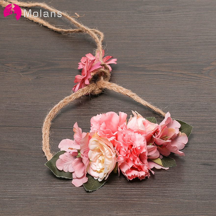 MOLANS Boho Flower Bridal Sash Hemp Rope Fabric Bride Marriage Accessories Elegant Waist Band Wedding Photograph Dress Gown Belt