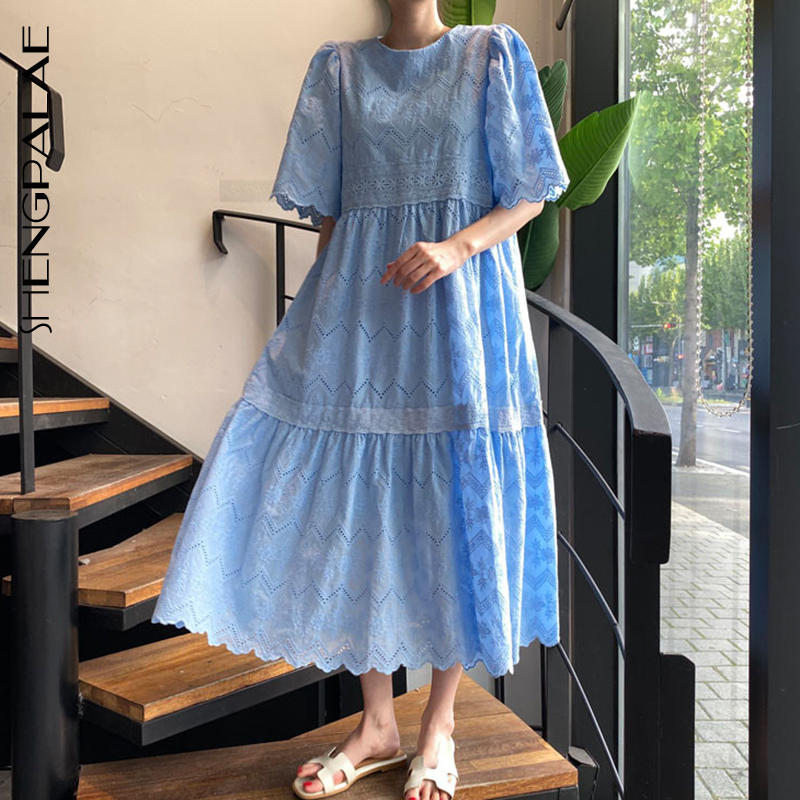 SHENGPALAE 2020 New Summer Women Vintage Loose High Waist Slim Was Thin Elegant Hollow Out Embroidery Maxi Dress ZA4452