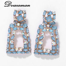 Dvacaman ZA Luxury Big Geometric Shiny Crystal Drop Earrings Women 2019 Fashion Charm Rhinestone Statement Party Jewelry Bridal(China)