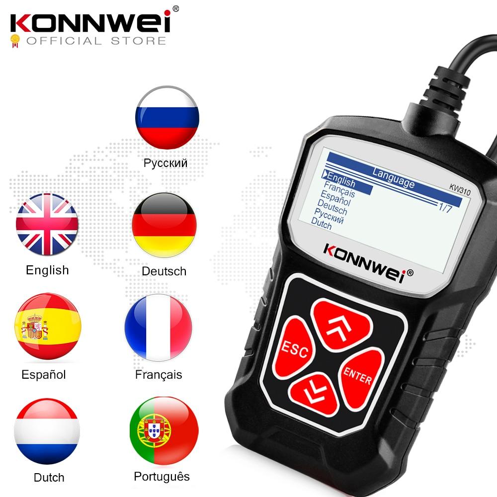 Konnwei kw310 obd2 scanner para auto obd 2 scanner de carro ferramenta de diagnóstico scanner automotivo ferramentas do carro russo língua pk elm327