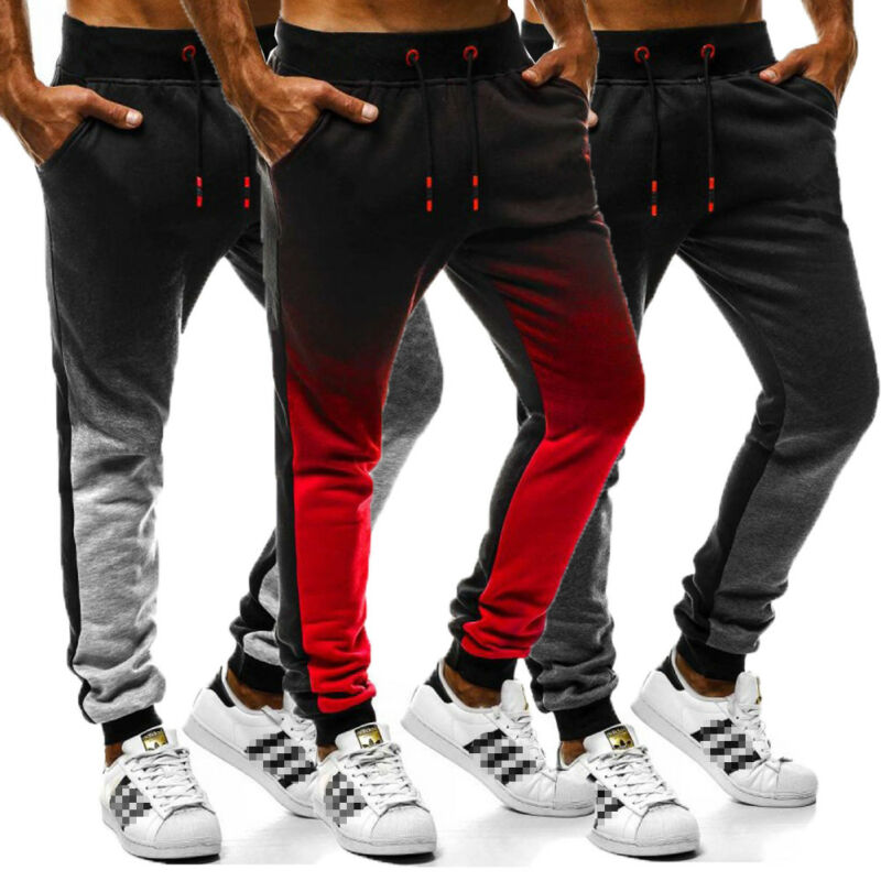 Men Casual Sport Pencil Pants Fashion Tracksuit Fitness Workout Soft Bodybuilding Joggers Running Gym Sweatpants Long Trousers