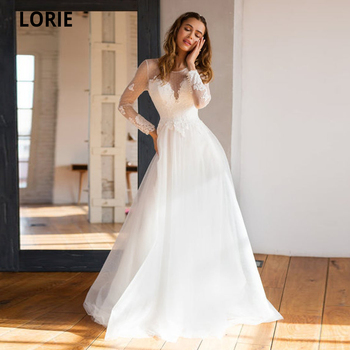 Booma Bohemian Wedding Dresses Long Sleeve Illusion Dot Tulle Beach Bridal Gown Classic Appliques Lace Boho Gown O-neck Plus lorie champagne tulle wedding dresses beach boho lace appliques bridal gown o neck illusion short sleeve vintage wedding gowns