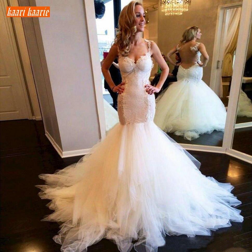 Glamour Boho robe de mariée blanche longue Tulle Applique dentelle sirène robes de mariée ivoire Slim fit Sexy à travers le dos robes de mariée
