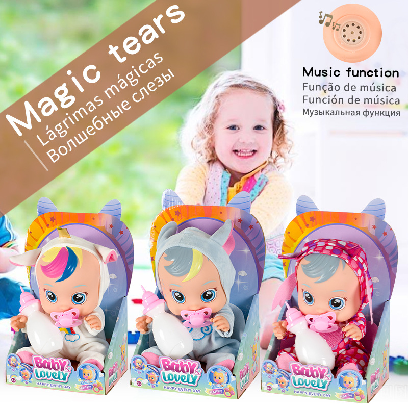 Cute 18cm Cry Baby Dolls Lols Pink Blue Unicorn Baby Boy Girl Toys For Children Doll It Will Tears Magic Birthday Gift
