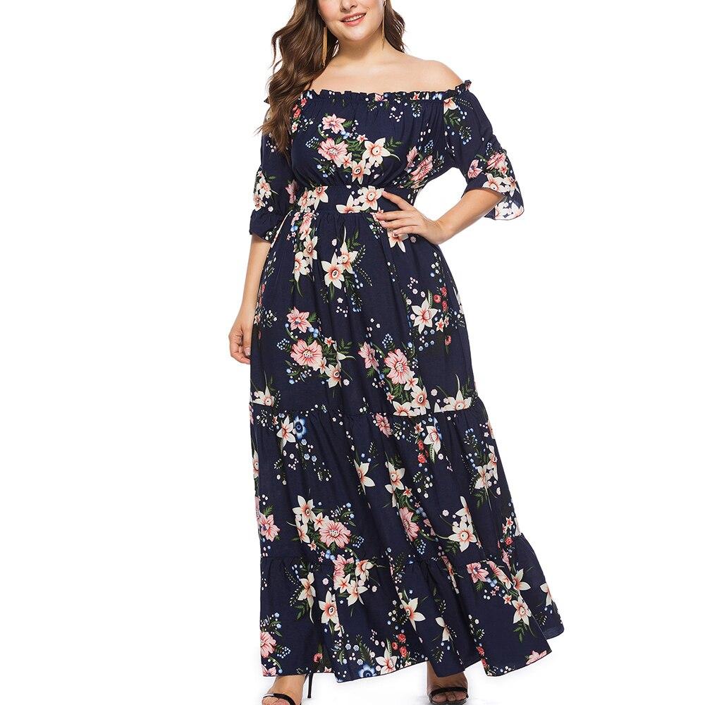Vestido Vintage de talla grande para mujer, vestido elegante con cuello barco con hombros descubiertos, tallas grandes hasta 5XL y 6XL, Vestidos para fiesta bohemios de noche