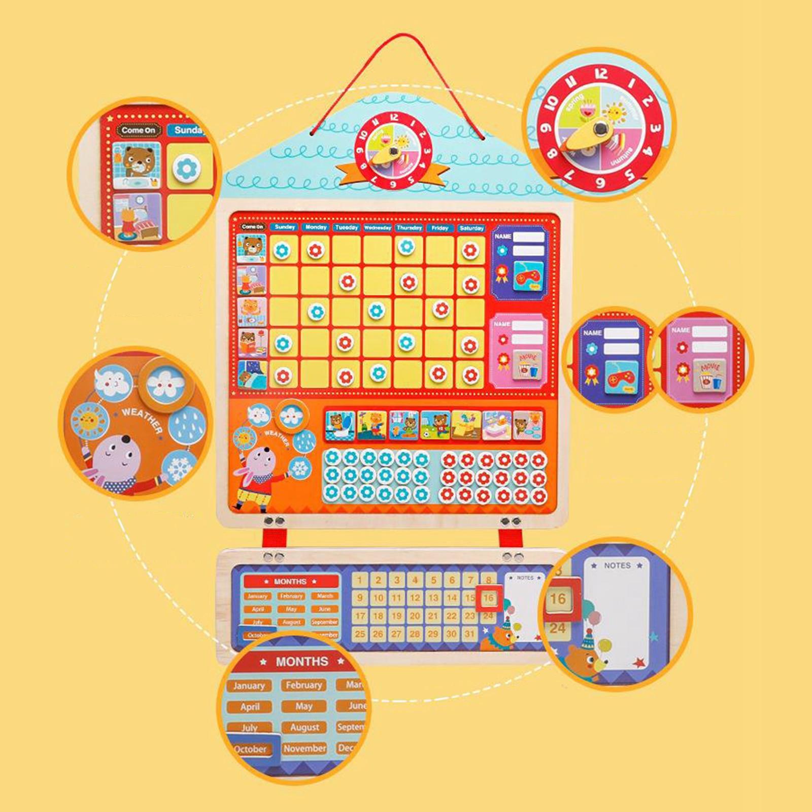 My Magnetic Calendar Reward Sticker Time Sheet Learning Plan Good Habits Self Discipline Kids Schedule Preschool Toys