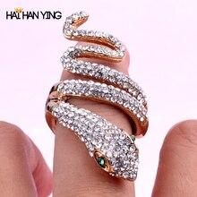 Wholesale women rings Fashion Snake ring female Gold alloy metal handmade rhinestone ring Animal Jewelry Initial ring Men rings rhinestone alloy triangle jewelry set rings