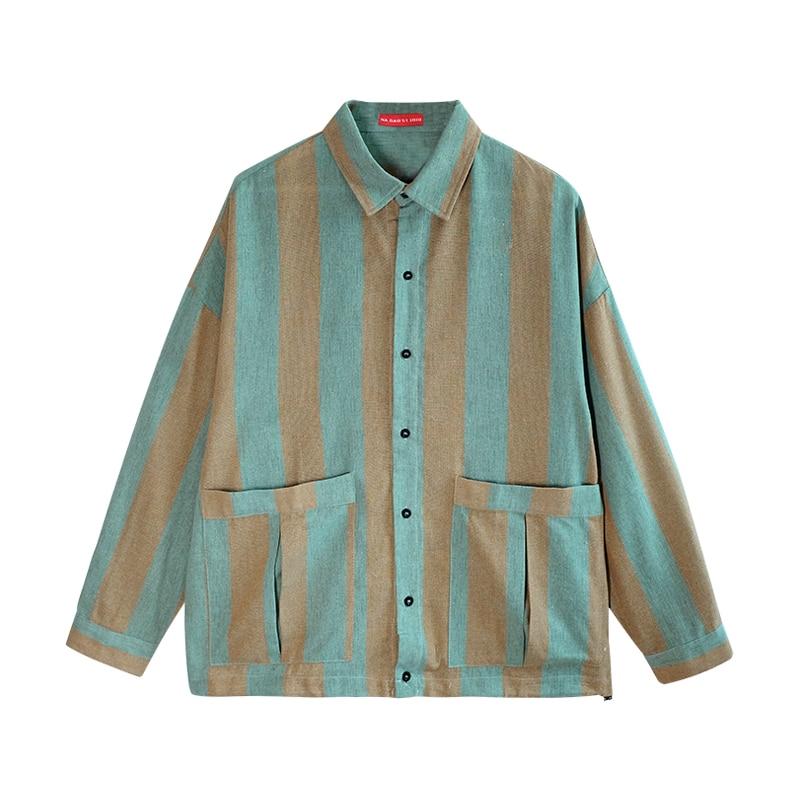 iiDossan 2020 Striped Jackets Mens Streetwear japanese Harajuku Coats Men HipHop Shirts Highstreet Long Sleeve Women Coats