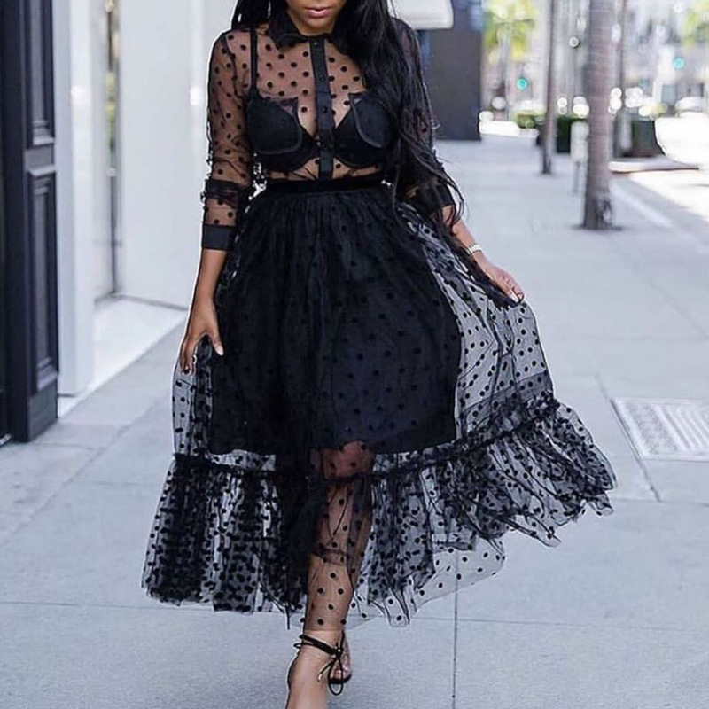 Black Mesh 2 Pieces Set Polka Dot See Through Transparent Shirts Tops with Tulle Skirts Lining Elastic Waist Pleated for Women