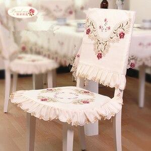 Image 4 - Stolz Rose Ländlichen Stil Tischdecke Stuhl Abdeckung Runde Tisch Abdeckung TV Arche Abdeckung Tuch Bestickt Stuhl Kissen